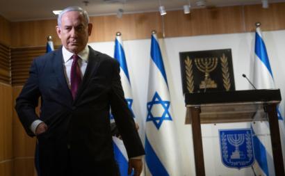 Netanyahu na sua declaração ao país em que anuncia novas eleições. Dezembro de 2020. Foto de Yonatan Sindel/EPA/Lusa.