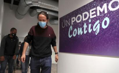 Pablo Iglesias na noite eleitoral de Madrid. Foto de Kiko Huesca/EPA/Lusa.