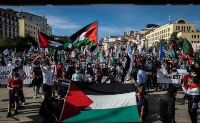 Manifestação de solidariedade para com a Palestina. Foto de Mário Cruz/Lusa.