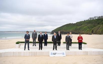 Fotografia de grupo dos líderes do G7. Foto de NEIL HALL/EPA/Lusa.