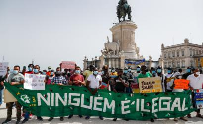 Manifestação de imigrantes este domingo em Lisboa.