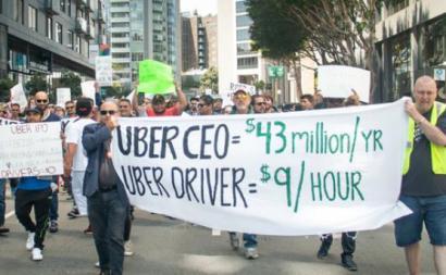 Trabalhadores da Uber em protesto. Foto de Gig Workers Rising/Twitter.