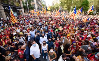 Manifestação deste sábado em Barcelona. Fonte: Twitter ERC.