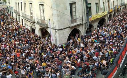Manifestação contra a sentença dos independentistas catalães. Outubro de 2019.