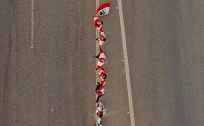 Pormenor do cordão humano no Líbano. Outubro de 2019.