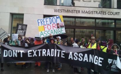 Manifestação pela libertação de Assange. Londres. Outubro de 2019.