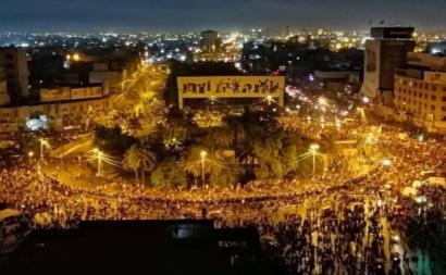 Manifestação na Praça Tahrir. Iraque, outubro de 2019.