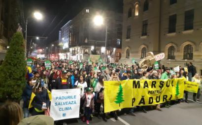 Manifestação contra o desflorestamento. Bucareste, novembro de 2019.
