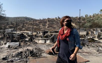 Marisa Matias de visita ao local do antigo campo de refugiados de Moria, na ilha de Lesbos, Grécia, que fora até então o maior da União Europeia.