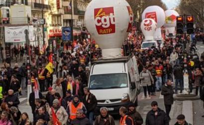Manifestação contra reforma das pensões de Macron. Paris, janeiro de 2020. Fonte: Attac France.