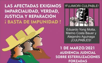 Cartaz de um movimento de vítimas de esterilização forçada no Peru. Fonte: Twitter.
