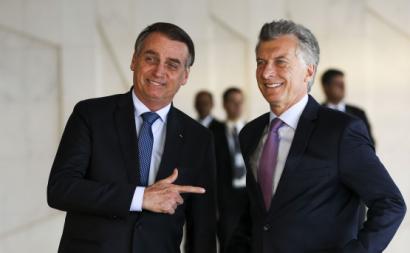 Macri com Bolsonaro em janeiro de 2019. Foto de Marcelo Camargo/Agência Brasil.