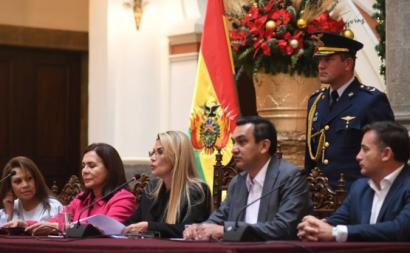 Governo golpista da Bolívia. Foto da Presidência.