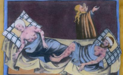 Ilustração de vítimas da peste bubónica