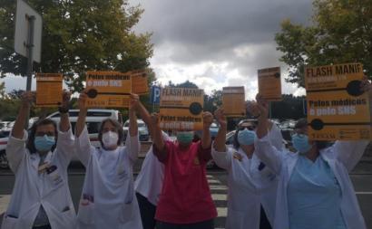 """Flash-Manif """"Pelos médicos e pelo SNS"""", na ULS Litoral Alentejano – foto da FNAM/página no facebook"""
