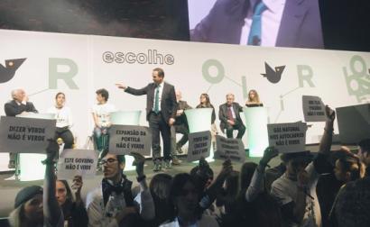 Protesto da Greve Climática Estudantil de Lisboa na cerimónia da Capital Verde 2020