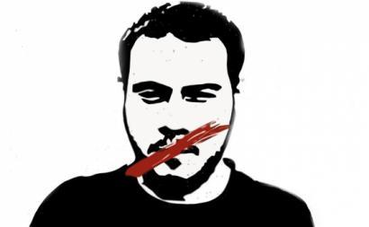 Imagem de Pabo Hásel num cartaz de uma manifestação pela amnistia.