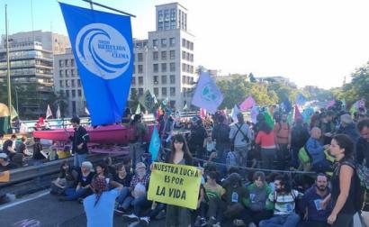Ação de desobediência civil climática em Madrid. Outubro de 2019.