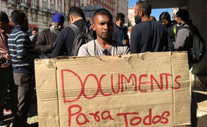 Protesto à porta do SEF em 2017
