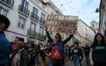 Manifestação da greve feminista de 8 de março de 2020.