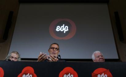 Manso Neto, António Mexia e António Catroga em conferência de imprensa em junho de 2017 - Foto de Tiago Petinga/Lusa