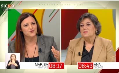 Debate de Marisa Matias e Ana Gomes na SIC Notícias