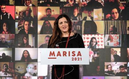 Marisa Matias no comício virtual a partir da Alfândega do Porto.