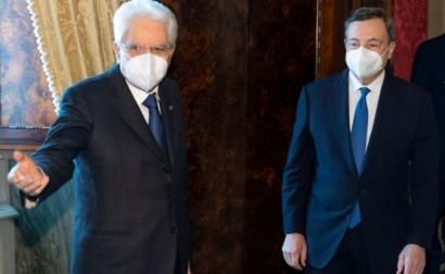 O presidente de Itália, Sergio Mattarella, indigitou para primeiro-ministro Mariro Draghi, antigo presidente do BCE - Foto do Palácio do Quirinal EPA/ Lusa