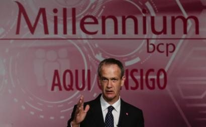 Miguel Maya, CEO do Millennium BCP, na divulgação dos resultados do primeiro trimestre de 2021, 17 de maio de 2021 – Foto de Tiago Petinga/Lusa