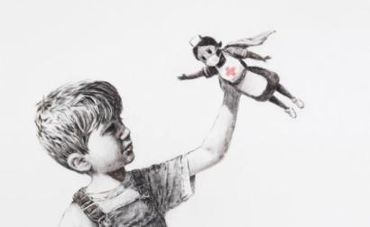 Obra que Banksy ofereceu ao hospital de Southampton e que será leiloada para angariar fundos para o Serviço Nacional de Saúde britânico.