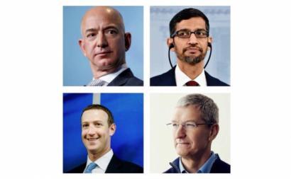 Jeff Bezos, Sundar Pichai, Mark Zuckerberg e Tim Cook, os imperadores da economia digital. Montagem esquerda.net.