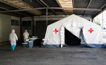 Posto fixo de testes covid-19 da Cruz Vermelha, 9 de outubro de 2020, Foto António Cotrim/Lusa