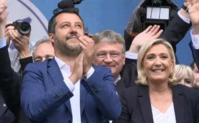 Matteo Salvini e Marine Le Pen são ideólogos do novo grupo de extrema direita (ID) do Parlamento Europeu, que garantiu eleição de 73 eurodeputados