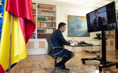 Pablo Sánchez, primeiro-ministro de Espanha e líder do PSOE, reuniu por videoconferência com Pablo Casado, líder do PP