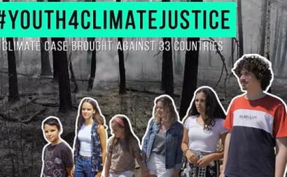 Imagem dos jovens que colocaram os 33 países em julgamento devido às alterações climáticas. Página da GLAN.