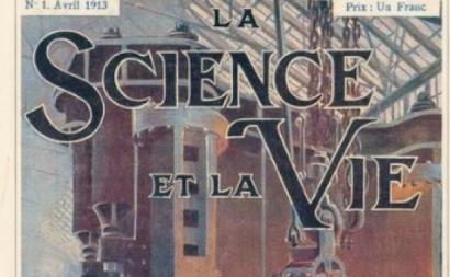 Pormenor da capa do primeiro da revista Science et Vie de abril de 1913.