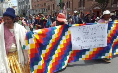 Manifestação contra o golpe de Estado na Bolívia. Novembro de 2019. Foto de: fotospublicas.com.