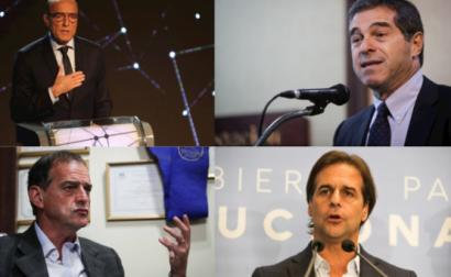 Candidatos à presidência do Uruguai: Daniel Martínez, Ernesto Talvi, Guido Manini Rios e Luis Lacalle Pou