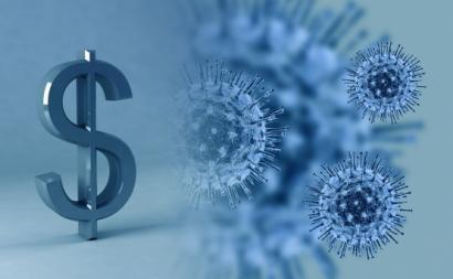 Cifrão e coronavírus. Ilustração de fernandozhiminaicela/Pixabay.