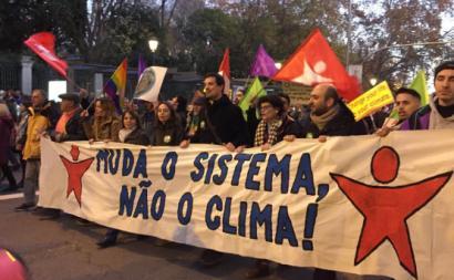 Bloco na manifestação pelo Clima à margem da COP 25 Madrid. Dezembro de 2019.