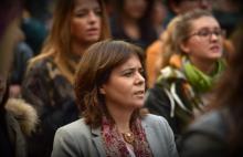 """""""Há cada vez mais mulheres que compreendem a necessidade da luta feminista"""", declarou Catarina Martins na manifestação pelo fim da violência contra as mulheres em Lisboa – Foto de Paulete Matos"""