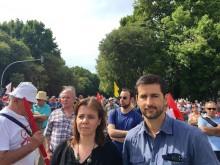 Catarina Martins e Ricardo Robles na manifestação da CGTP.