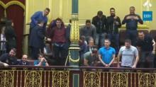 Estivadores espanhóis na tribuna do parlamento espanhol. Foto EED