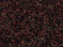 Uma fatia do universo, parte do mapa de galáxias a três dimensões publicado pelo Instituto de Astrofísica Max Planck. Crédito: Daniel Eisenstein and SDSS-III.