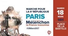 A marcha por uma 6ª República realiza-se neste sábado, 18 de março, a partir das 14 horas, entre a Praça da Bastilha e a Praça da República, em Paris