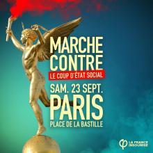 Marcha contra o golpe de Estado Social promovida pela França Insubmissa, Paris, 23 de setembro de 2017