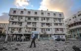 Edifício do Ministério da Saúde em Gaza destruído pelos bombardeamentos na segunda-feira