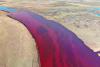 Imagem do rio Ambarnaya poluído. Foto do WWF/Twitter.