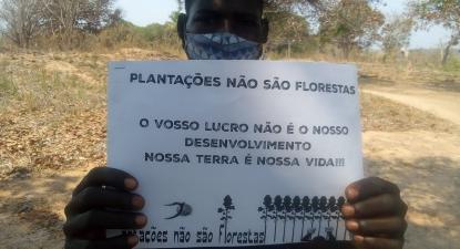 Cartaz contra as plantações. Foto de Justiça Ambiental/Facebook.