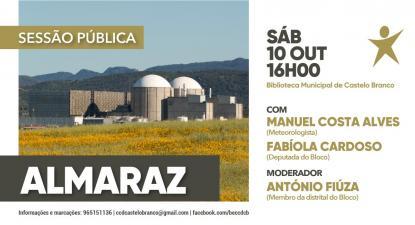 Cartaz da sessão pública sobre a Central Nuclear de Almaraz.